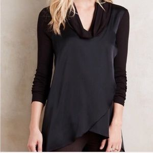 Anthropologie Deletta Black Drape Cowl Neck Shirt